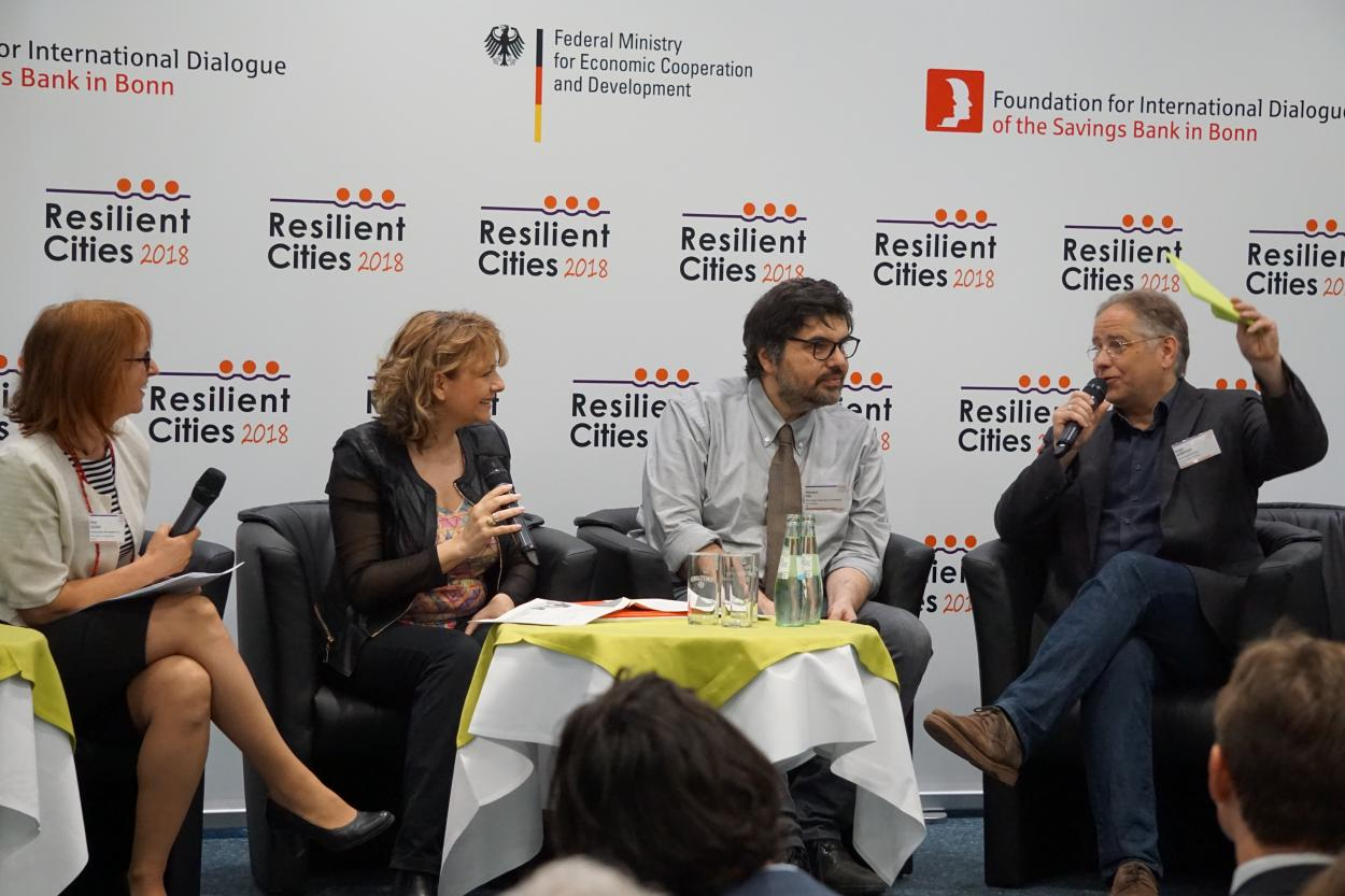 Birgit Georgi (Strong Cities in a Changing Climate), Stefania Manca (Municipality of Genoa), Giovanni Fini (Municipality of Bologna) and Holger Robrecht (ICLEI - Local Governments for Sustainability)